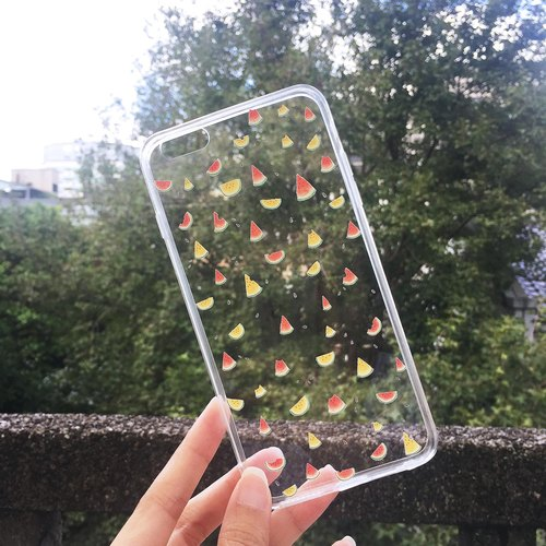 Hand-painted watermelon transparent all-inclusive mobile phone shell soft shell iPhone Android