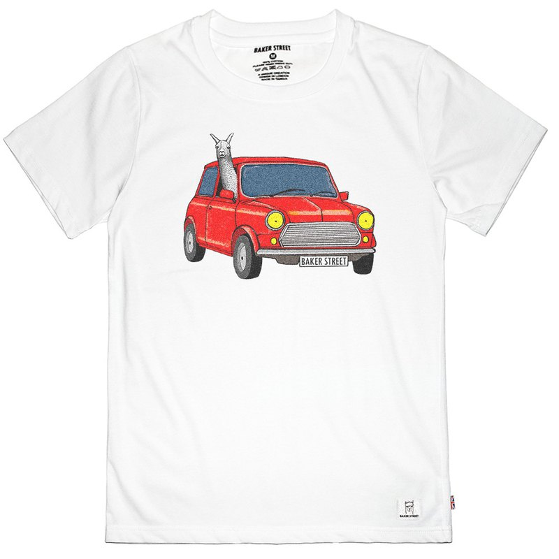 British Fashion Brand -Baker Street- Driving Alpaca Printed T-shirt