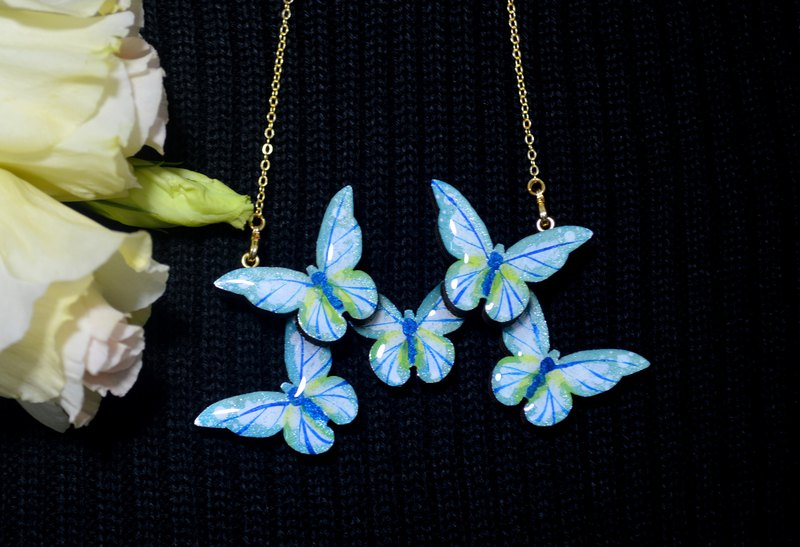 Butterfly kiss blue bright goddess butterfly shape necklace hand painted wooden