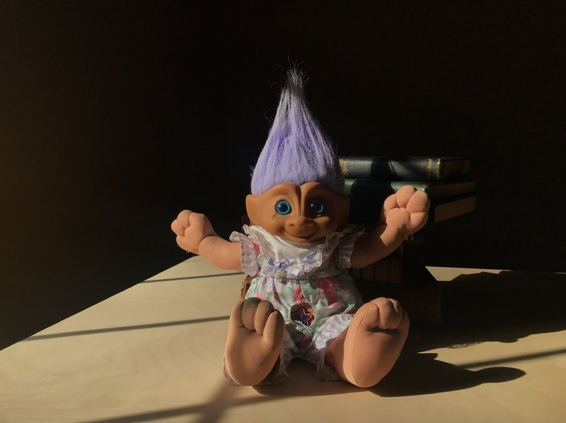 Early Toys / Troll Doll Magic Hair Elf Puppet Purple Star Navel