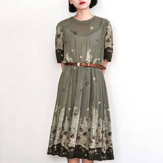 Vintage lines garden vintage short-sleeved dress
