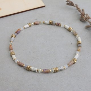 Purple jade natural stone agate brass bracelet (0592 rainbow sugar)