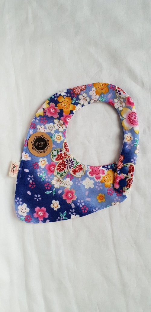 Wind Cherry Blossom - Blue - Eight Layer Cotton 100% Cotton Double Sided Strawberry Bib. Saliva Towel
