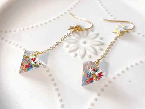Street Corner Flower House Series - Flower Handmade Dry Flower Drop Earhook/Ear clip