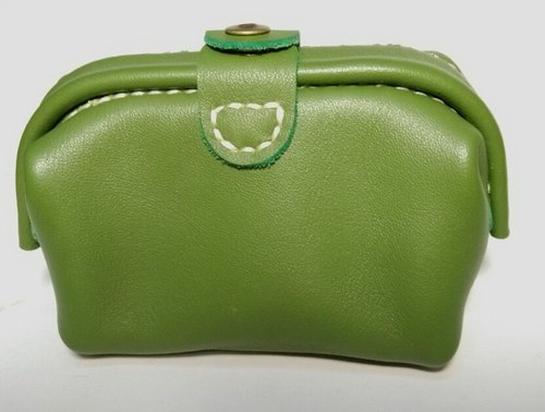 Grass green cow leather mini mouth gold coin purse