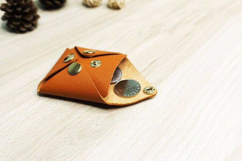 Leather sleek minimalist four-button coin purse / can be put on the headset line / Christmas (free gift box packaging)