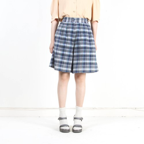 [Eggs and plants vintage]Orange plaid cotton and linen vintage waist shorts