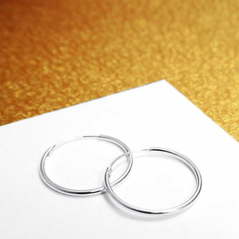 Round/C Earrings Round 25mm 925 Sterling Silver-ART64