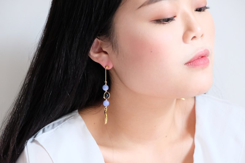 ALYSSA & JAMES Moon Series Blue Black Agate Temperament Long Earrings (turnable ear clip)