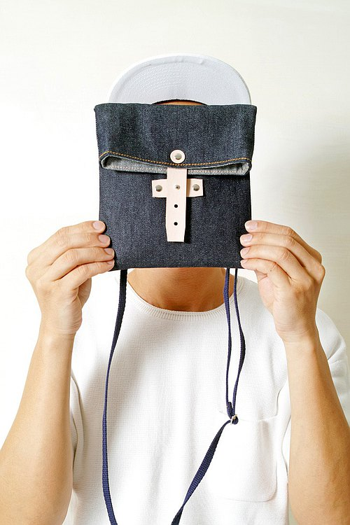Tanabata lover RED CAPACITY-DENIM-handmade leather denim denim folding camera bag / storage bag