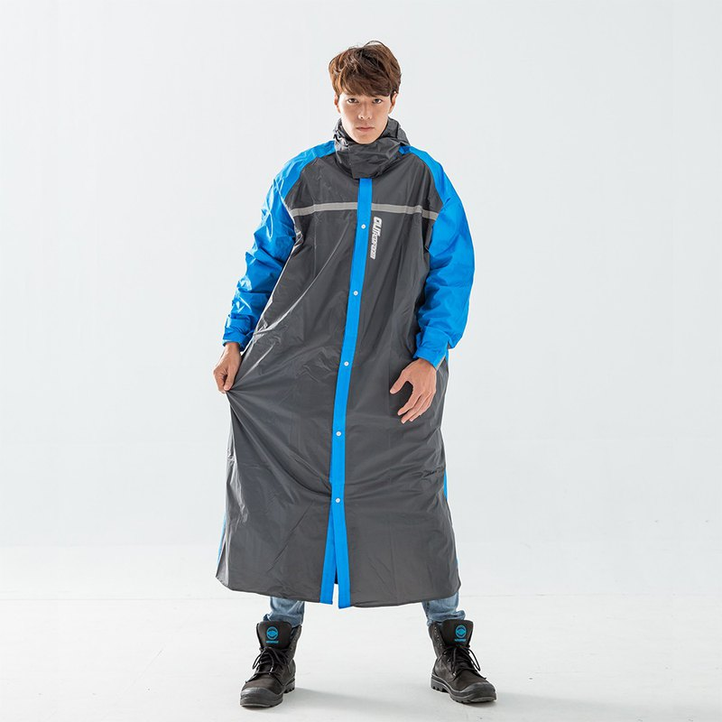 Tibetan shirt cover back section - adult backpack front open style raincoat - blue black