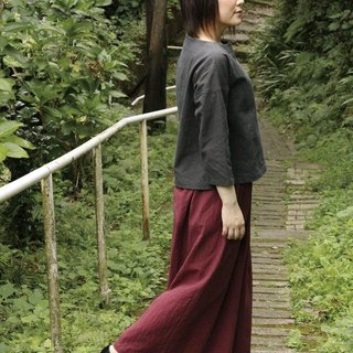 Cotton flax-wide pants burgundy