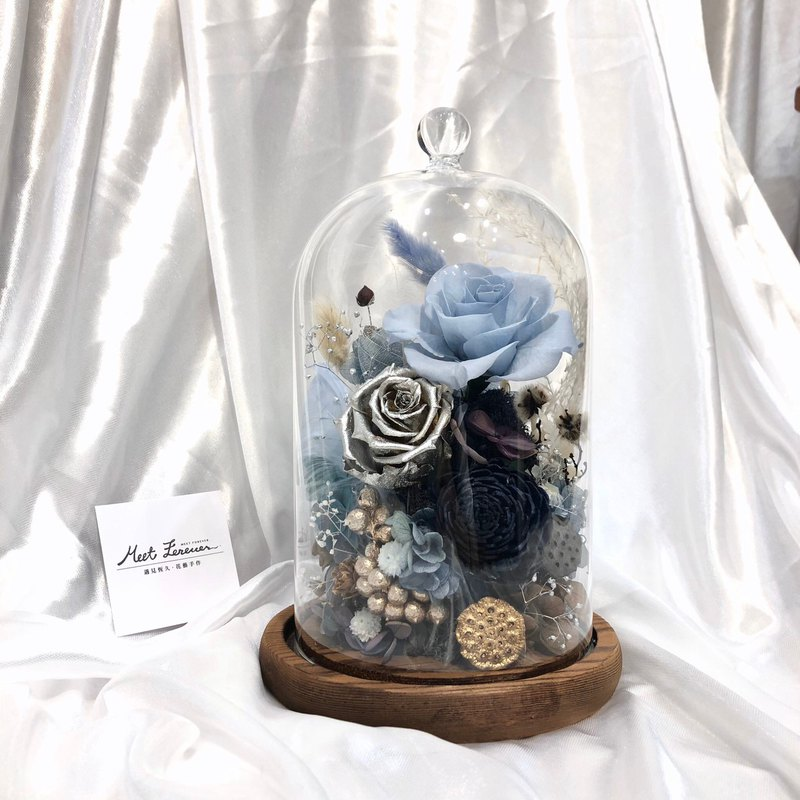 [Meet Everlasting] Blue Ocean Immortal Flower Glass Cover with Gift Box + Lettering Service