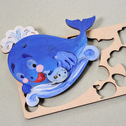 /Ugears/ Ukrainian wooden model coloring small whale