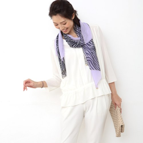 Ballett Zebra pattern combination scarf of soft chiffon Made in Japan Washable at home