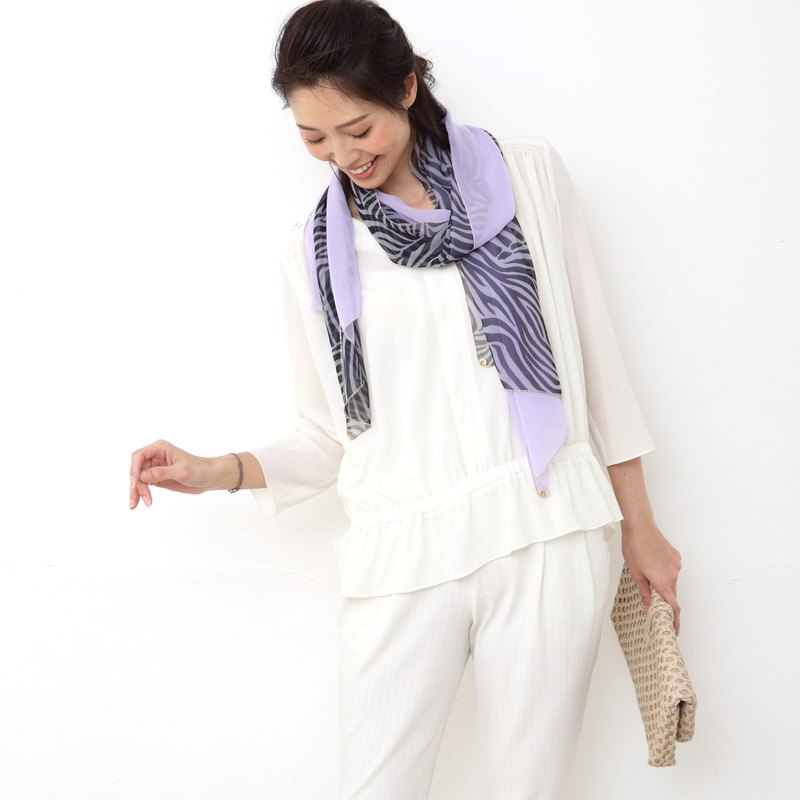 Ballett soft chiffon zebra pattern combination scarf Made in Japan Washable at home