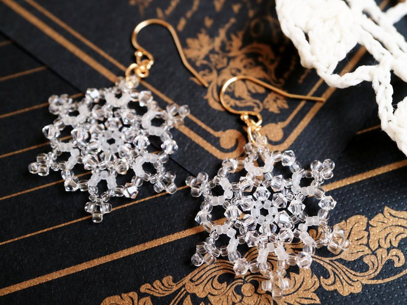 Snow Crystal Earrings 14kgf 14k Gold Filled Delicate Austrian Crystal Glass Snowflake Snow Snowflake Winter Tasteful Christmas Lead Glass
