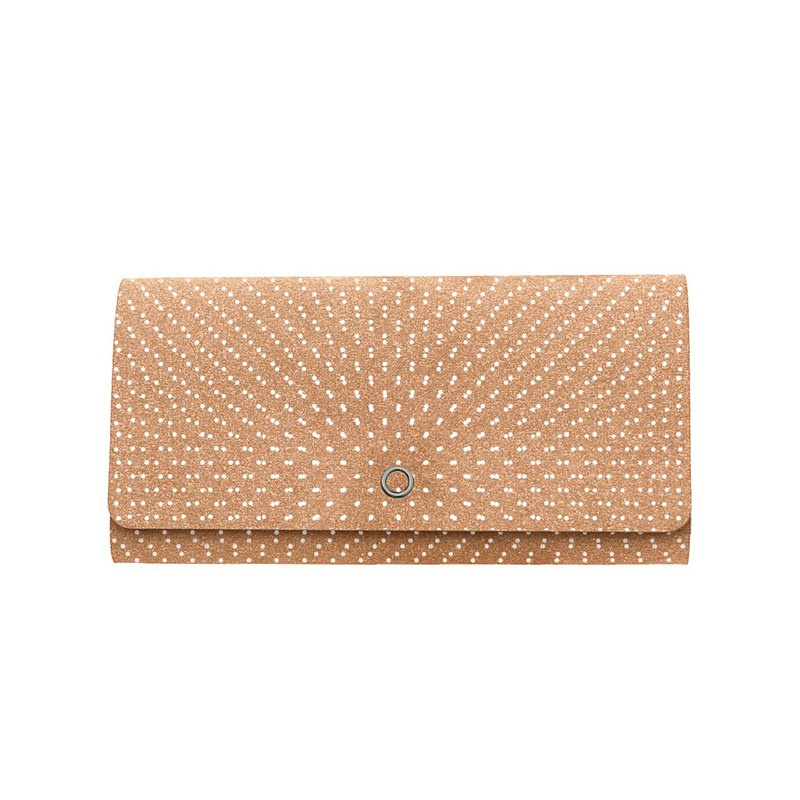 Slim long-wallet with coin spaces【Brown x White Dot Pattern】