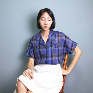 FOAK vintage 50's navy plaid pocket shirt
