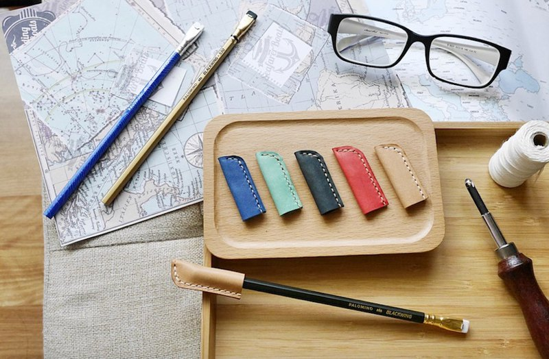 Italy leather pencil pen set multi-color optional free customized lettering