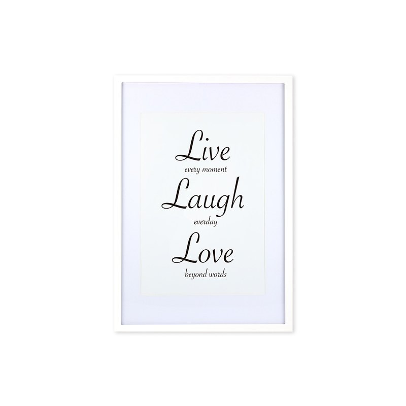 HomePlus Decorative Frame - Cursive Quote LiveLaughLove - White 63x43cm Homedecor