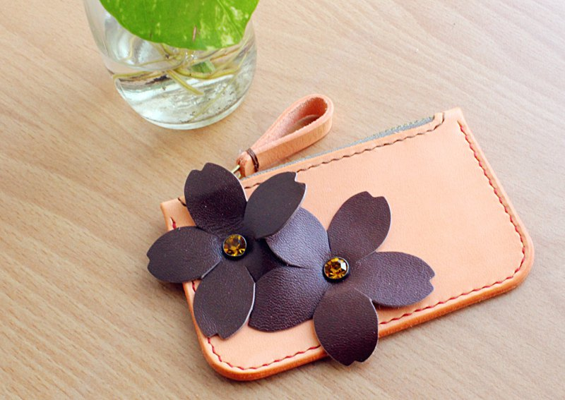 Handmade Italian first layer leather brown and brown flower purse