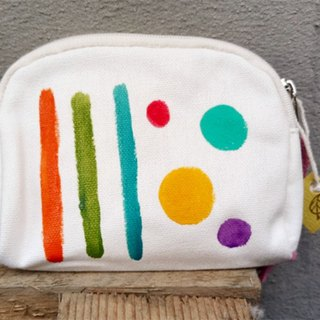【Pure hand-painted】 Coin purse | Universal | Canvas | Little stripe lattice