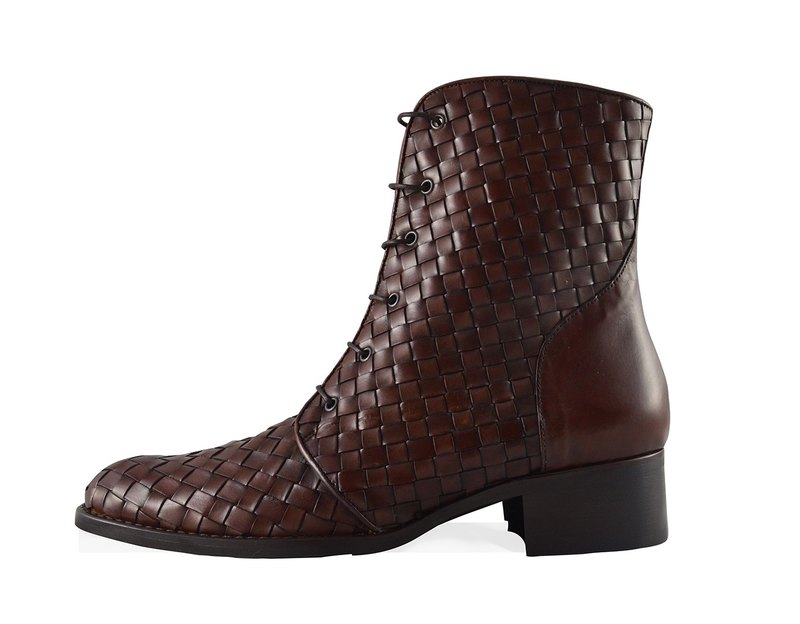 Women's Woven Leather Combat Boot