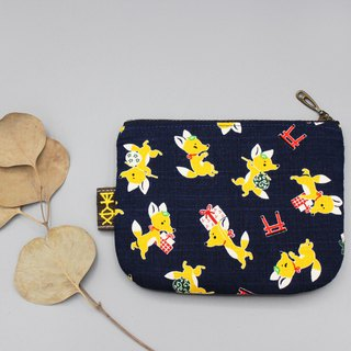 Peaceful little music bag - gift fox, double-sided two-color Japanese cotton and linen small wallet