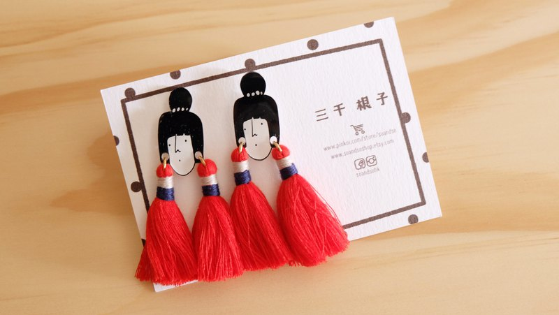 Three thousand sub-series / tassel earrings / red
