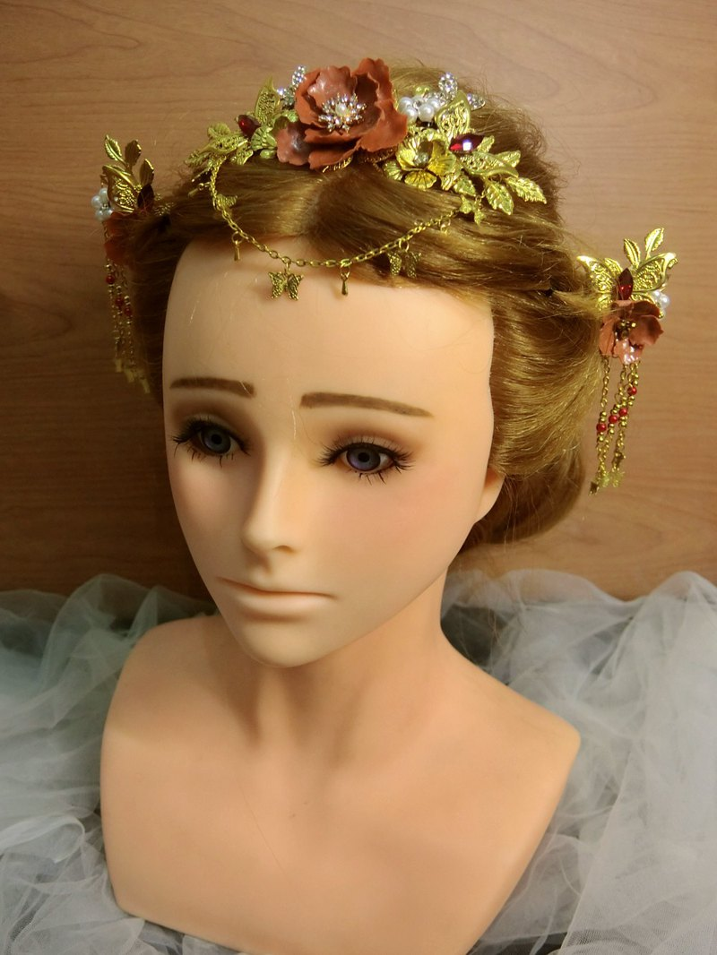 Chinese handmade butterfly crown bridal headdress jewelry