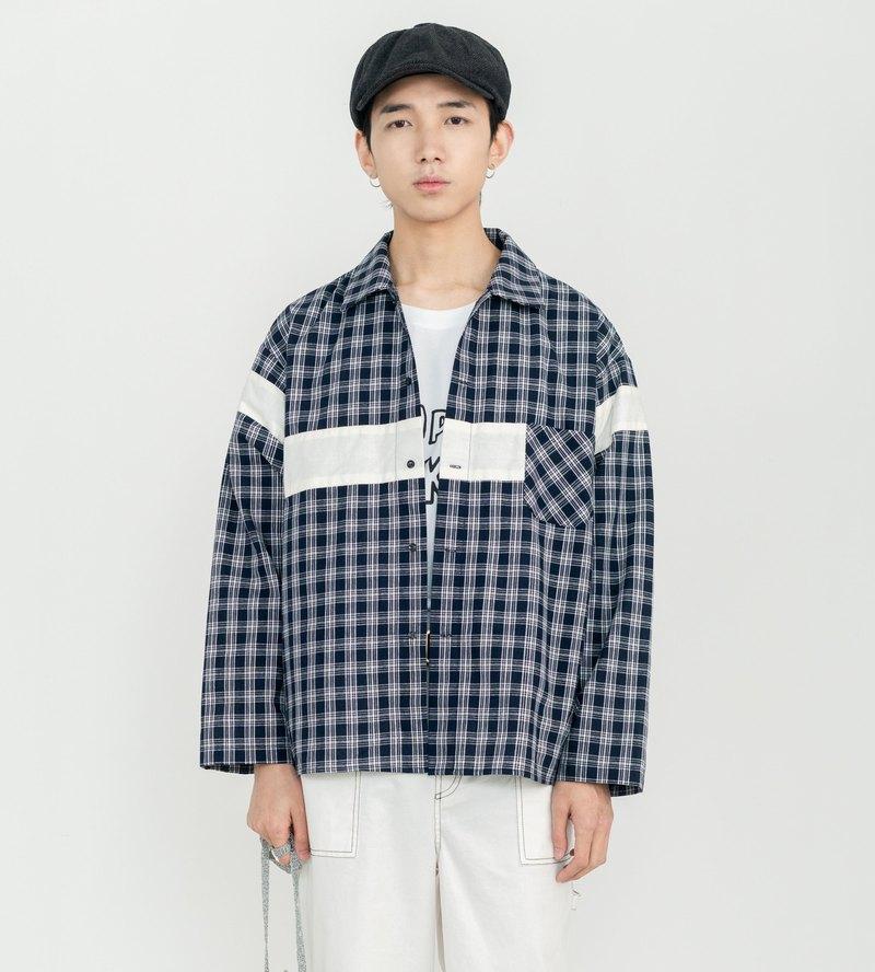 格紋拼接長袖襯衫外套 日系復古 清新 獨立設計 男女同款格子襯衫