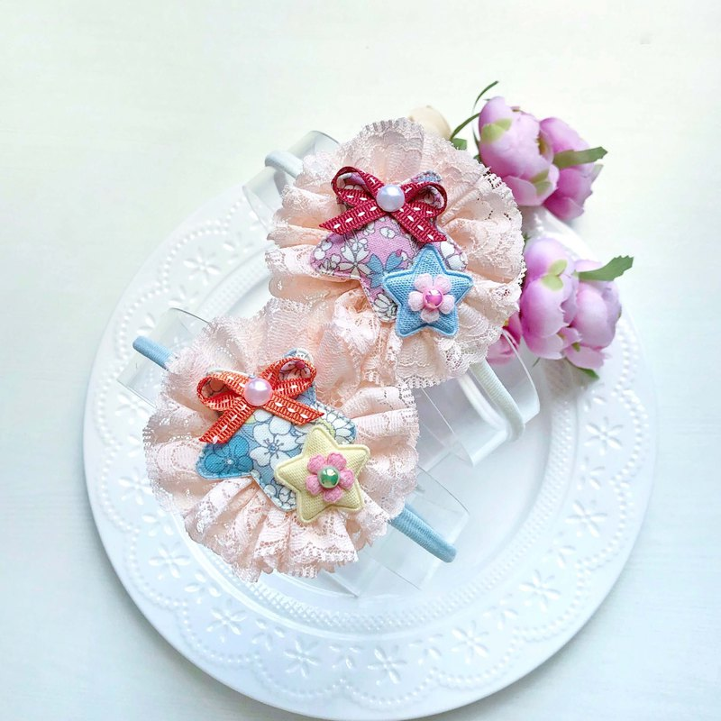 Flower double star bow non-lace child baby hair lead tape