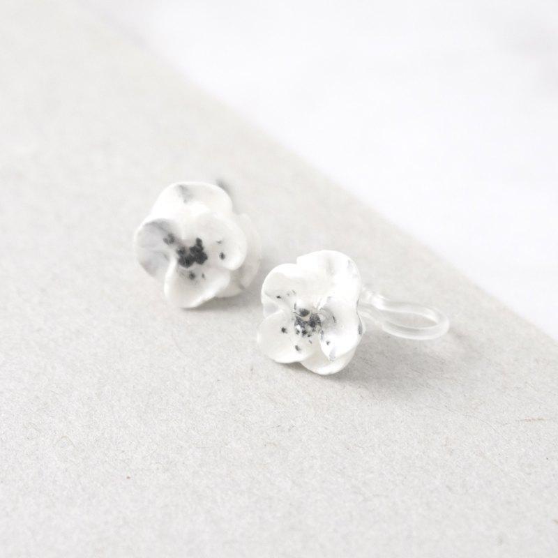 大理石紋罌粟秋牡丹耳環/耳夾 手工黏土裱花