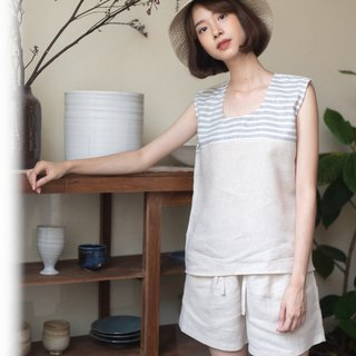 NIKARA SET (Linen tank top and Linen shorts) - Beige/Blue stripe