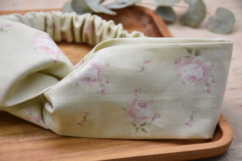 Pink green rose printed cotton elastic hair band