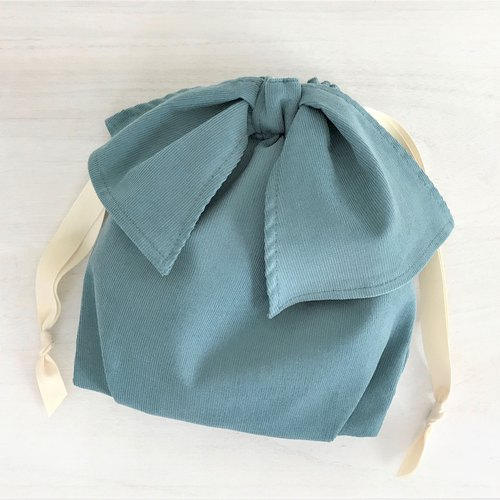 Light Corduroy Asymmetry Ribbon Drawstring Pouch Blue Green