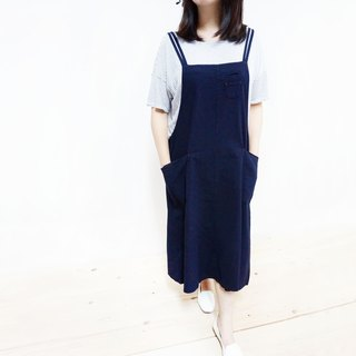 Cotton double pocket one-piece dress / dark blue