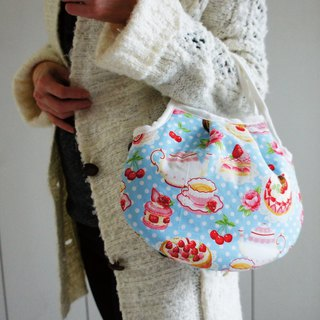 Lovely (Japanese cloth) strawberry cake afternoon tea handbag, hand bag, lunch out bag, pink blue