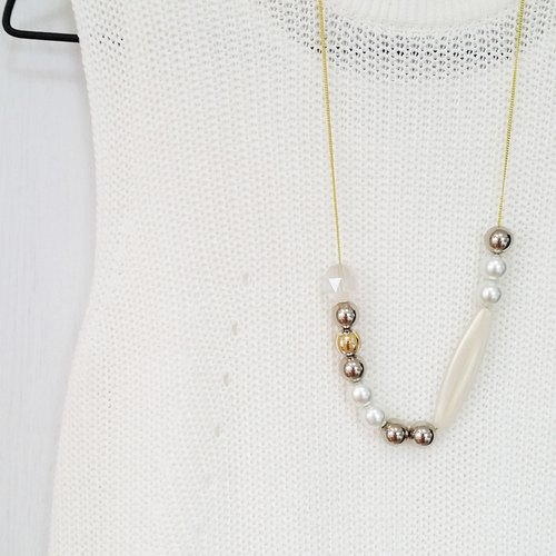 Amusing Silver White Beaded Long Chain Necklace