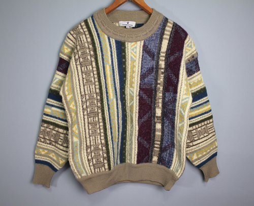 FOAK Ancient Giovanni Valentino Thick Ethnic Wind Weave Sweater