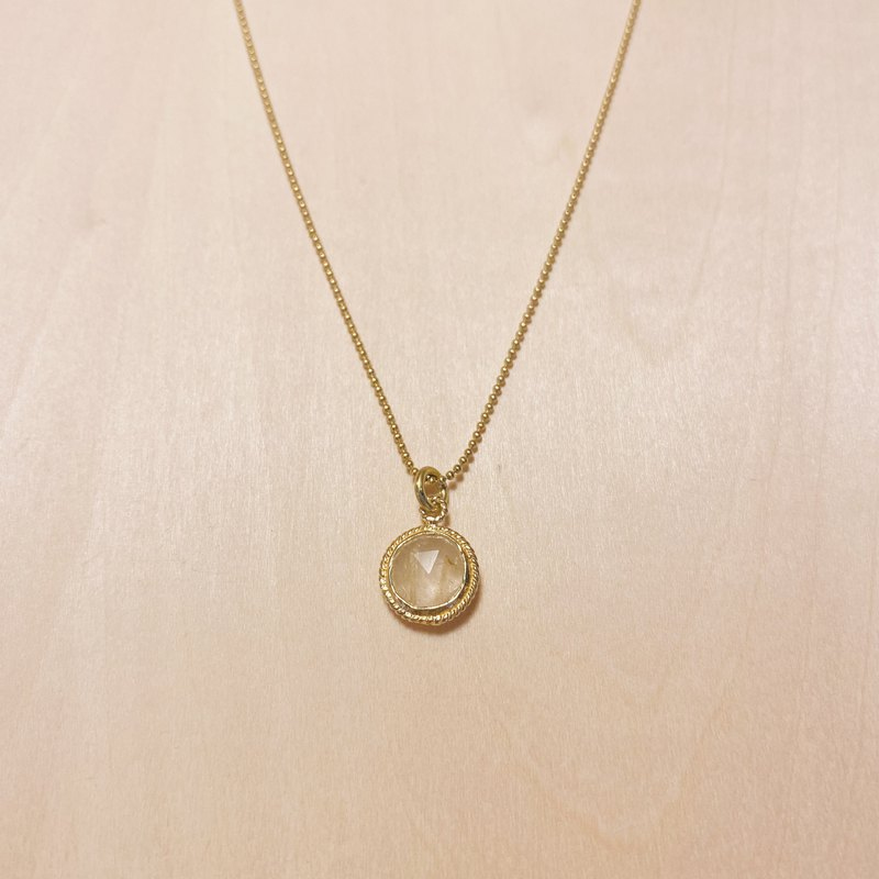 Vintage engraved gold rim fine crystal necklace