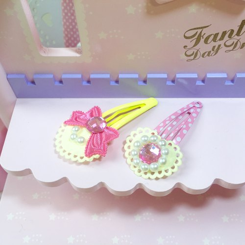 Pink Princess Hair Clip (2 Pieces 1 Set) ~ Bowknot/Love Jewel (Yellow)