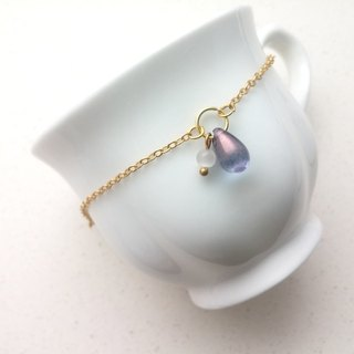 ♥ HY ♥ x bracelet hand-made opal water droplets fine chain bracelet Bright Purple x White