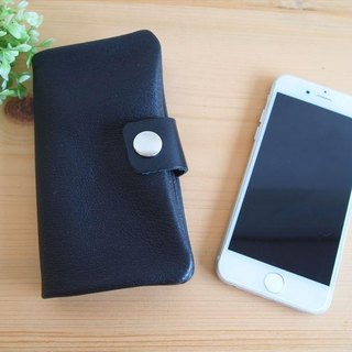 [Custom-made classic black] pig leather soft Sumahokesu [various models] leather cover [iphone6, xperia, galaxy] black