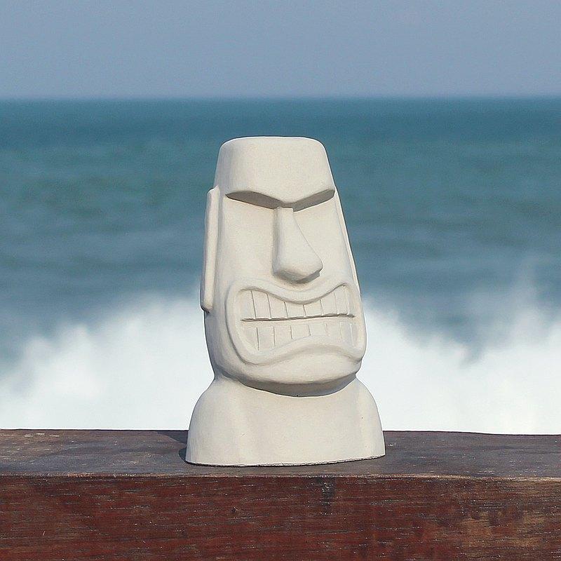 水泥摩艾 Moai-瘋狂摩艾 Q版摩艾 憤怒表情 文創 療癒小物