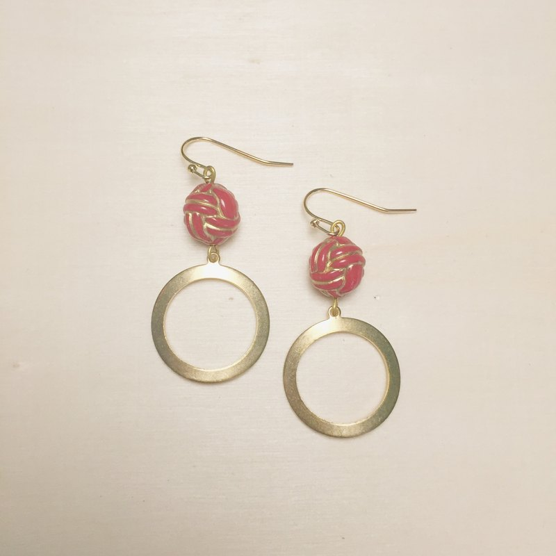 Vintage engraving red rope knot circle earrings