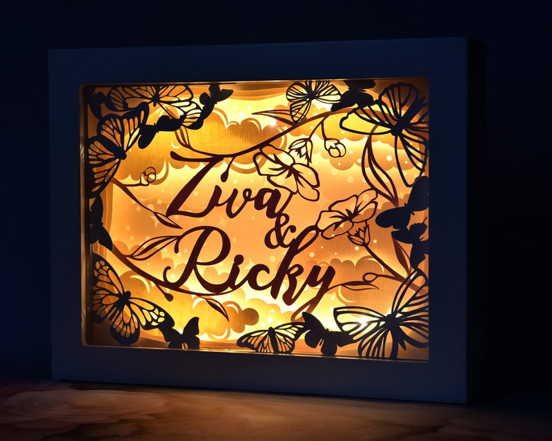 Handmade Customized Personalized LED Shadow Box Lamp, Butterfly Theme