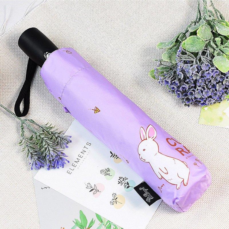 雙龍牌好奇兔降溫13度黑膠自動傘自動開收傘抗UV晴雨傘(薰衣紫)