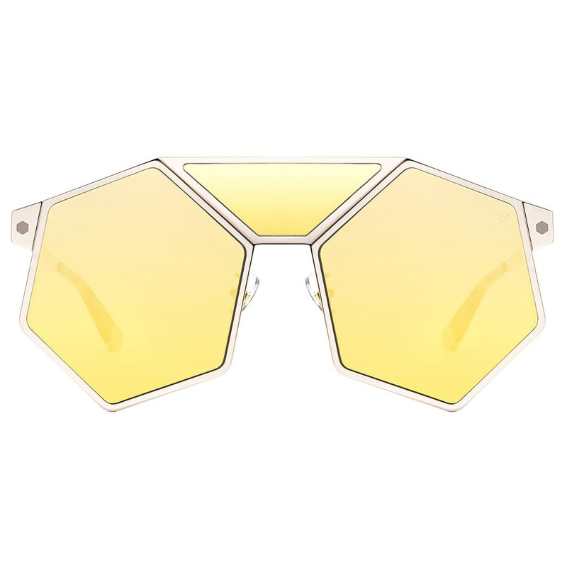 Sunglasses | Sunglasses | Yellow Multi-angle Hexagon Glasses | Italy | Metal Frame Glasses